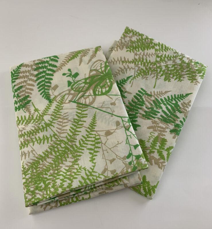 2 VTG FERN Shadow Vera Neumann  Standard Pillowcase Green  BurlingtonNOS