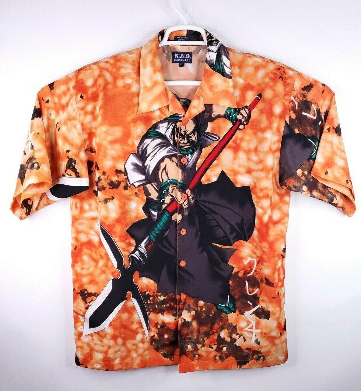 KAD Clothing Co Anime Samurai Warrior Button Shirt Men's K. A. D. Size XL Korea.