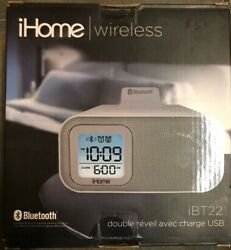 NEW - iHome iBT22 Wireless Dual Bluetooth Alarm Clock iPhone iPod *FAST SHIPPING
