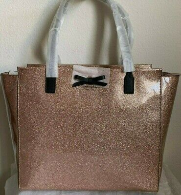 NWT Kate Spade Mavis Street Taden Zip Top Tote Bag Glitter Rose Gold Original Pa