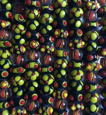 30 Handmade Lampwork Glass Beads Bumpy Dots Black Orange Rondelle Fall Halloween Dots Lampwork Glass Bead
