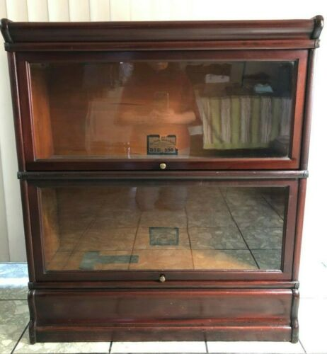 ANTIQUE GLOBE WERNICKE LAWYERS BARRISTER BOOKCASE 2 STACK MODEL 598