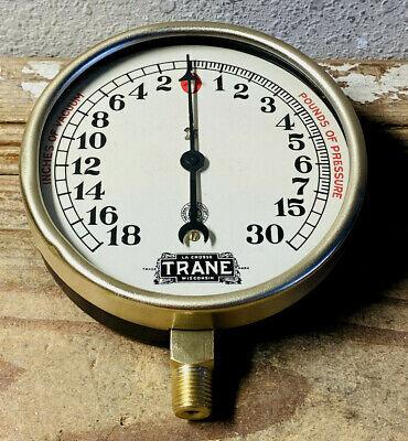 1920s Large 5 Vintage Brass National Pressure Gauge Trane Steampunk Antique