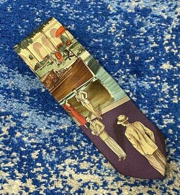 History of 1920s Men's Ties, Neckties, Bowties Polo Ralph Lauren Roaring 1920's Riviera Boat Resort Water Purple Necktie USA $99.99 AT vintagedancer.com