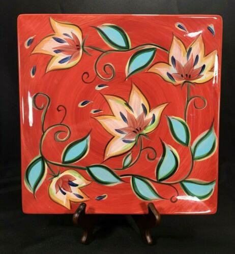 "Southern Living at Home Gail Pittman Red Bountiful 13"" Square Serving Platter"