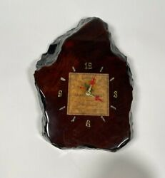 Live Edge Wine Wall Clock Handmade - Vintage White Zinfandel Label - WORKING
