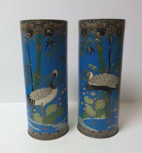 "Pair 19th C. Japanese Cloisonne Enamel on Bronze 12"" Vases, Cranes"