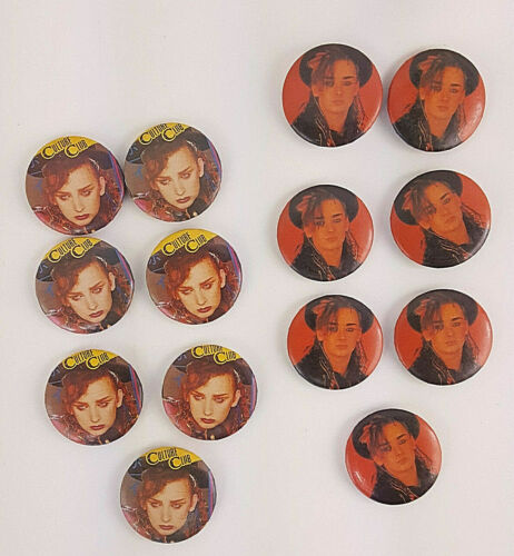 Lot of 14 Vintage Boy George Culture Club Buttons Pinback 1980s New Wave Music