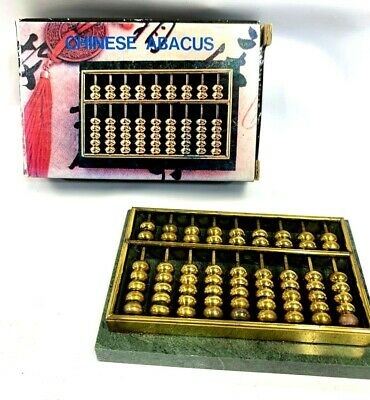 New Vintage Brass Abacus Mounted On Jasper Slab - In Original Box