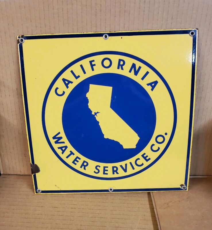 ***Vintage California Water Service Porcelain Sign***