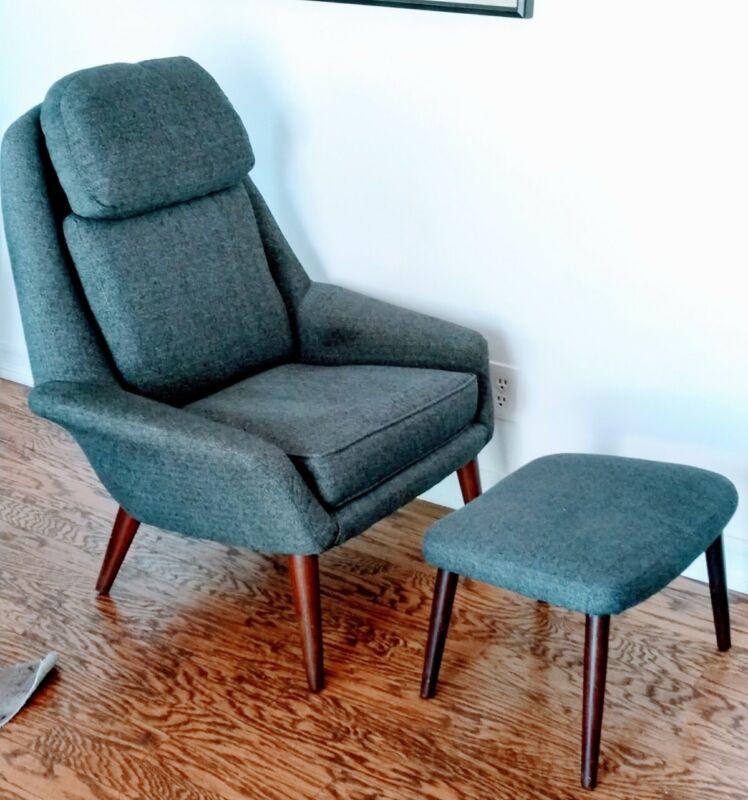 Mid Century Modern MCM Lounge Chair w/ottoman footrest H.W Klein 4 Bramin Mobler