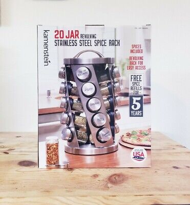 Kamenstein 20 Jar Revolving Stainless Steel Spice Rack NEW Spices Included
