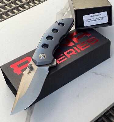 PENA X Series RHINO Titanium Folding Blade Pocket Knife Blue Tumbled Handle M390