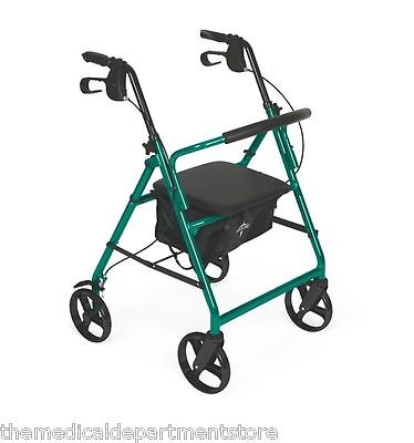 Medline Rollator Rolling Wheeled Walker 4 Wheel w/ Seat Fold