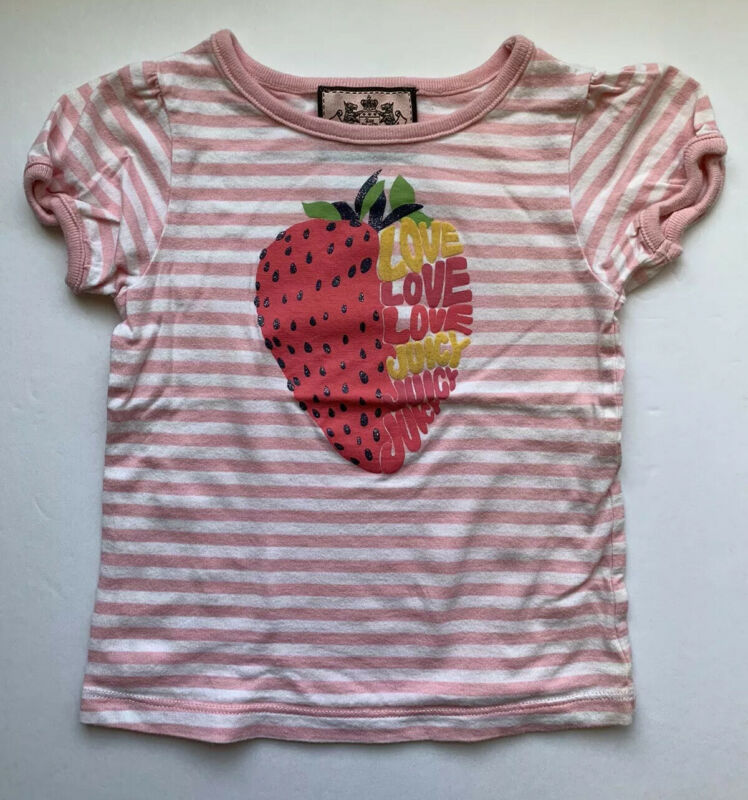 JUICY COUTURE Infant Girls Tee T Shirt Size 12-18 Months Pink Love Top Shirt