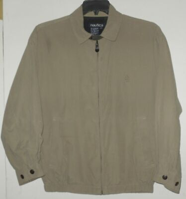 NAUTICA  Mens Bomber Harrington Windbreaker Jacket in Beige/Tan Sz S