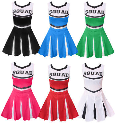 ADULT CHEERLEADER COSTUME CHEER LEADER OUTFIT SQUAD FANCY DRESS HIGH SCHOOL  - Cheerleader Dress Up Costume
