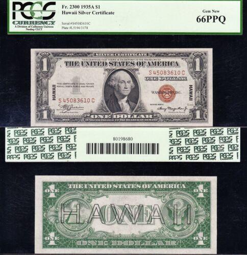 Amazing GEM++ UNC 1935 A $1 HAWAII Silver Cert.! PCGS 66 PPQ! FREE SHIP! 83610C