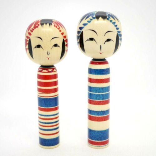 12cm Japanese Traditional Dento Kokeshi Dolls Yasuhiro Sato (1976-) Set of 2