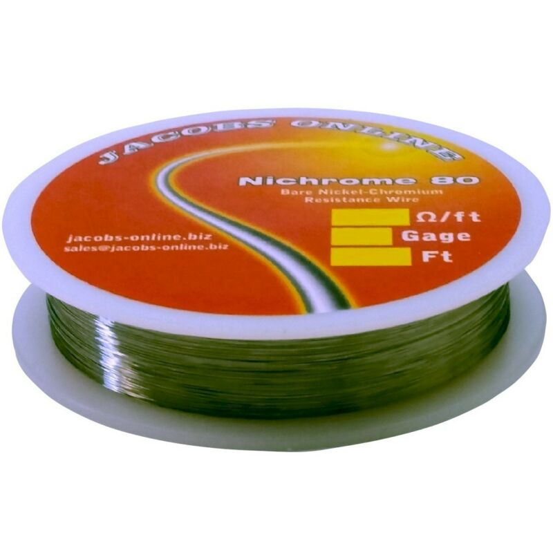 Nichrome 80 resistance wire (Nichrome V, Chromel A), 34 gauge, 100 feet