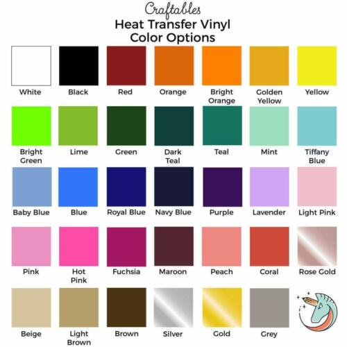 "Craftables Heat Transfer Vinyl sheet Iron on HTV for Cricut, Silhouette 12""X10"""