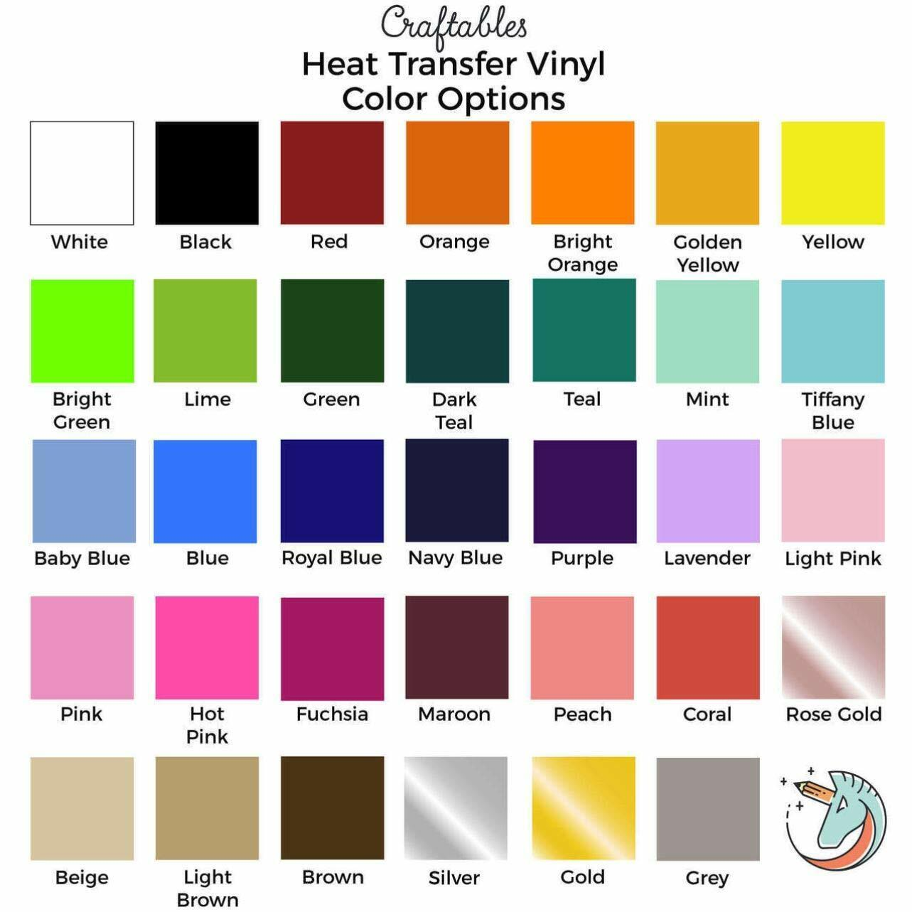 Craftables Heat Transfer Vinyl Roll Iron on HTV 11 ft for Cricut, Silhouette
