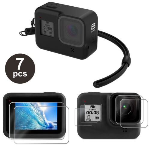 Accessories Kit for GoPro Hero 8 Black Silicone Protective Case+Screen Lens Film