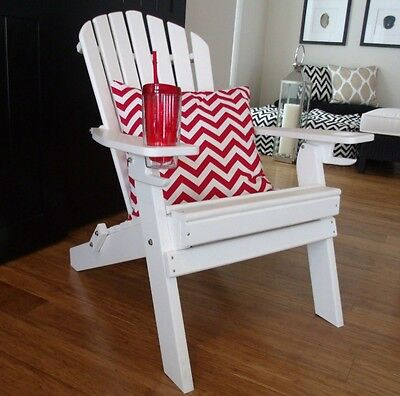 NEW DELUXE 7 SLAT Poly Lumber Folding Adirondack Chair WHITE - 2 CUP HOLDERS