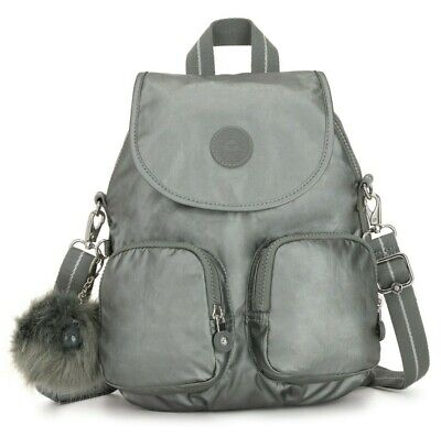 Kipling FIREFLY UP Small Backpack Covertible To Shoulder Bag - Metallic Stony