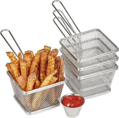 Andrew James Mini Chip Fries Baskets Stainless Steel Serving & 4 Sauce Pots