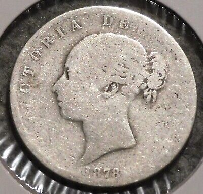 British Silver Half Crown - 1878 - Queen Victoria - $1 Unlimited Shipping