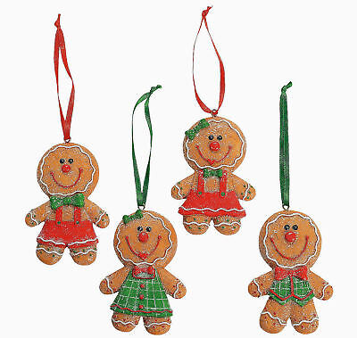 12 Big Head Gingerbread Men & Girls Christmas Tree Ornaments