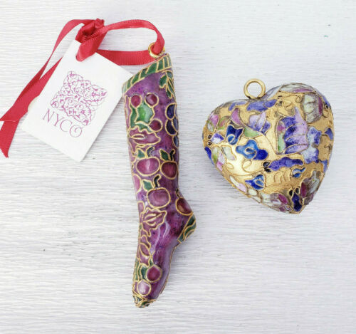 Bright Gold Cloisonne Chinese Champleve Stocking & Heart Ornaments