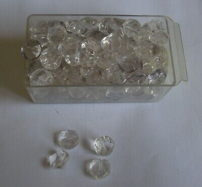 Vintage Faceted Clear Glass Shank Buttons - 10mm diameter