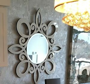Stunning, Mint Condition White Glass Wall Mirror