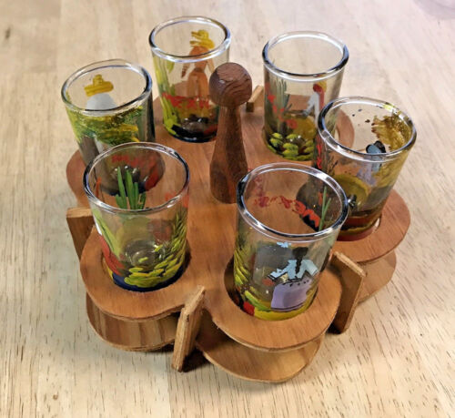 Vintage Hand Painted Mid-Century Jigger Set Speed Shooter Shot Glass Wood Stand