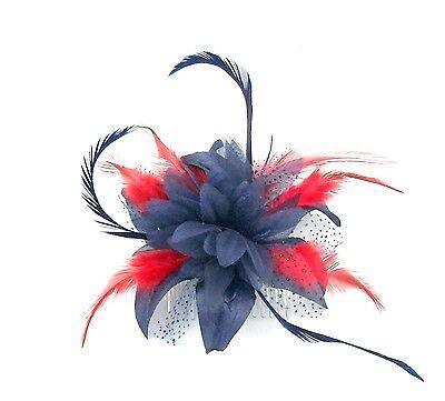 Tocado en Azul y Rojo Plumas en Clip, Bodas, (Azul Y Rojo)
