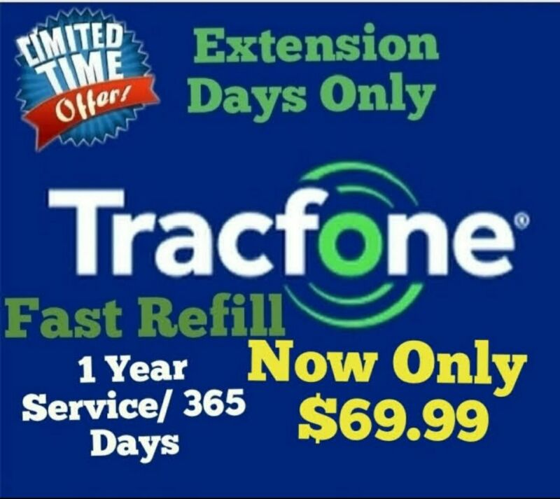 Tracfone Service Extension / 365 SERVICE DAYS ONLY  $69.99/ WORKS ALL BRANDS :)