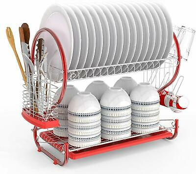 2 Tier Kitchen Dish Cup Drying Rack Drainer Dryer Tray Cutlery Holder Organizer