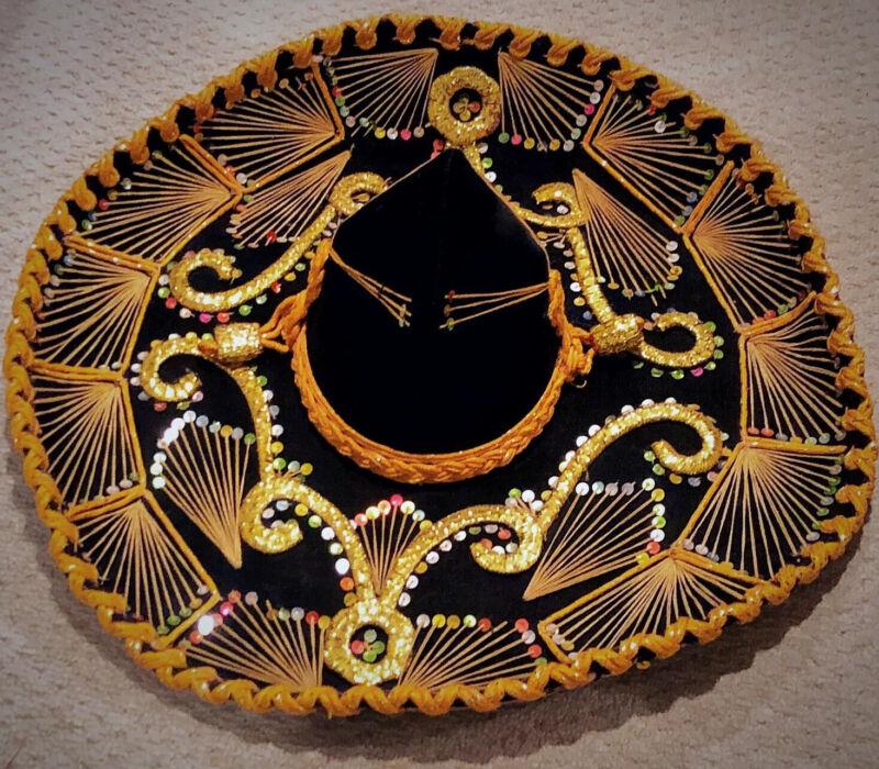 Vintage Giant Black & Yellow Velvet Mexican Sombrero Paris 1900 Roma 1898