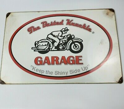 """Busted Knuckle Garage Sign 17"""" x 11"""" Tin Metal Motorcycle Large Distressed Decor"""