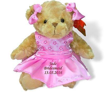 Personalised Teddy Bear Flower Girl Bridesmaid Mother Bride Groom Wedding Gift ()