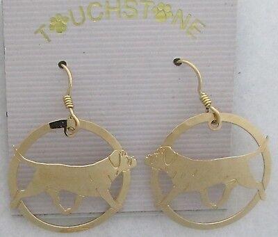 Bullmastiff Jewelry Gold Dangle Earrings by Touchstone Dog - Bullmastiff Jewelry