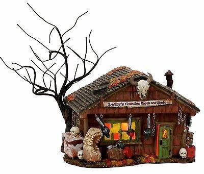 Lefty's Chain Saw Repair and Studio Dept 56 Snow Village Halloween 4056703 New - Studio 56 Halloween
