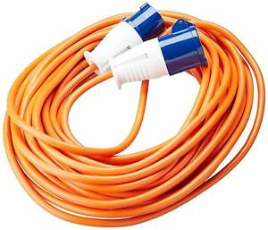 Orange 25 Metre 230v Caravan Camping Electric Hook Up Extension Mains Cable Lead
