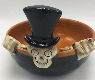 2010 Large Candy Dish Bowl Boney Bunch Skeleton Yankee Candle Halloween FLAW