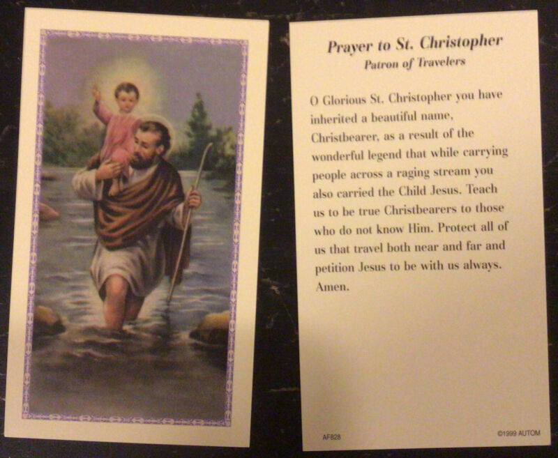 ST CHRISTOPHER  PRAYER  HOLY CARD  PATRON SAINT OF TRAVELERS  FREE SHIPPING!