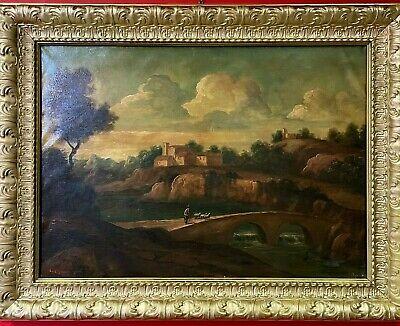 Quadro antico dipinto a olio su tela 900 paesaggio con cornice dorata anni 50 ad