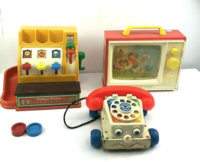 Vintage Fisher Price Toy Lot Telephone TV Television Cash Register Rare Toys