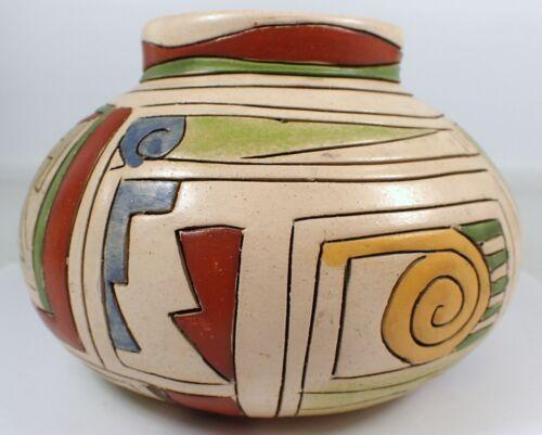 "RARE Vtg c1930 Mexico Pottery Hand Painted GEOMETRIC Design Vase Bowl 6 7/8"""
